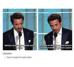 """Replace """"susan Downey jr"""" with """"pepper Potts"""" and it's like him & iron man are one and the same <-- she wouldn't be Downey jr! He's only Robert Downey Jr because his father was Robert Downey. His surname isn't """"Downey Jr"""" 😂 Funny Marvel Memes, Marvel Jokes, Dc Memes, Avengers Memes, The Avengers, Funny Memes, Hilarious, Funniest Memes, Funny Tweets"""
