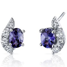 Sparkling Wave 2 Cts Simulated Alexandrite Oval Earrings Sterling Silver Rhodium Nickel Finish -- Don't get left behind, see this great  product : Earrings