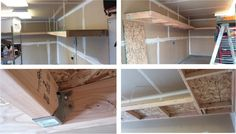 Garage Shelving. Uses chain, 2x4's, and 7/16 OSB.
