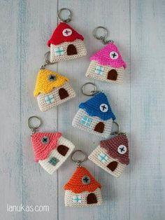 Colourful Houses Key Chain