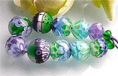 Purple Green Spring Breeze Chrysanthemum beadset by carolinedousi, $89.99