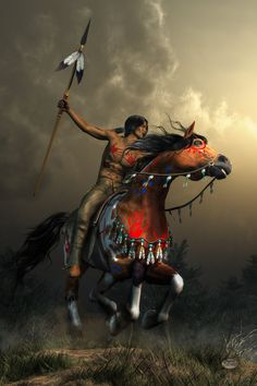 This artist does gorgeous work. While this picture does not explicitly show a Comanche warrior, that tribe's horsemanship was unparalleled.   Warriors Of The Plains by deskridge on DeviantArt