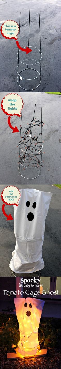 Tomato cage DIY ghost. Cheap and easy front yard Halloween decor. 20 Best Halloween DIY Outdoor Decoration Ideas
