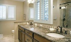 Kansas City Master Bathroom Remodel With Granite Counter And His U0026 Her  Sinks With Vanity.