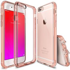 $10.99 iPhone 6S / 6 Case, Ringke FUSION ** Shock Absorption Technology**[FREE Screen Protector][ROSE GOLD CRYSTAL] Crystal Clear PC Back Drop Protection TPU Bumper Case