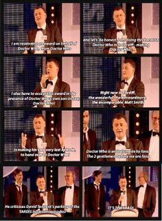"""Steven Moffat at the 2013 TV Choice Awards. """"He criticizes David Tennant's parking of the TARDIS in some episodes. It's that bad!"""" I love Whovians =P"""