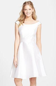 Off shoulder, white satin, fit & flare dress for rehearsal dinner ...