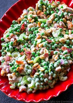 Crunchy Pea Salad - I know it sounds weird but trust me, it's good! Peas, nuts, bacon, celery...all for a refreshing salad. the-girl-who-ate-everything.com