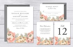 Vintage Floral Wedding Suite by origamiprints on @creativework247
