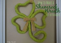 If you have a million wire hangers laying around put them to good use with this St. Patricks decor idea and learn how to make a wreath using these wire hangers. Pick up some basic dollar tree materials and make this cute 4 leaf clover for your front door. Holiday Wreaths, Holiday Crafts, Holiday Fun, Holiday Decor, Holiday Ideas, St Pattys, St Patricks Day, Saint Patricks, Mardi Gras