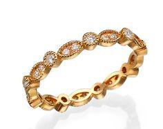 Oro rosa anillo de bodas Art Deco anillo de por MochaRings