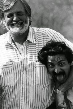 George Romero and Tom Savini, two legends. P George Romero. Horror Posters, Horror Icons, Horror Films, Tom Savini, George Romero, Evil Dead, Ghost And Ghouls, Cinema, Famous Monsters