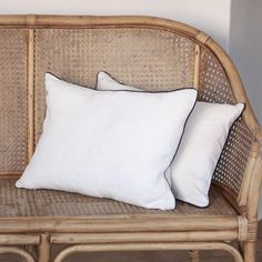 LINEN CUSHION COVER 35x50cm (white with black piping) by Tikau – TIKAU Linen Pillows, Bed Pillows, White Cushions, Black Linen, Natural Texture, Draping, Decorative Accessories, Hand Weaving, Sleep