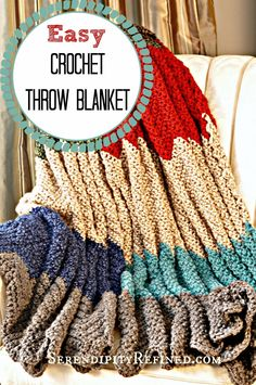 Simple Crochet Throw Blanket Pattern Serendipity Refined ༺✿ƬⱤღ  https://www.pinterest.com/teretegui/✿༻