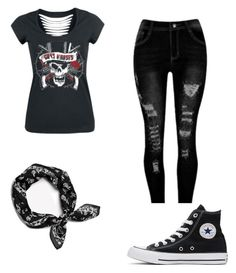 """guns n roses"" by tigerkat ❤ liked on Polyvore featuring Converse and rag & bone"