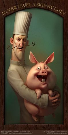 Illustration - Never Trust A Skinny Chef Character Illustration, Digital Illustration, Friends Illustration, Pig Art, 3d Artist, Illustrations, Art Design, Oeuvre D'art, Character Art