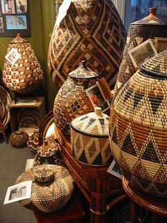 African Zulu Basket  Interesting that the designs on some are similar to the designs on Cherokee baskets I've seen.