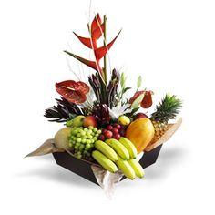 Floral Frutal Tropical Flower Arrangements, Fruit Arrangements, Tropical Flowers, Fruit Flower Basket, Fruit Flowers, Bouquets, Church Flowers, Simple Centerpieces, Gerbera