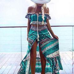 Summer Set Summer Style Women Off Shoulder Bohemian Printed Crop Top + Maxi Long Dress Abbigliamento Donna