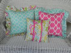 Ruffled Accent Pillow Kumari Garden Fabric By SeasonsofLoveBtq
