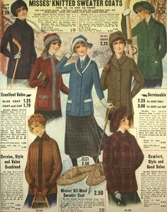 Misses' Knitted Sweater Coats ~ ~ Eaton's 1916-1917 Fall & Winter catalog…