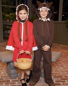 Little red riding hood and big bad wolf costumes made from simple alterations to hoodies