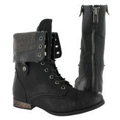 SoftMoc Women's BIANCA 2 black fold over combat boots BIANCA2-BLK