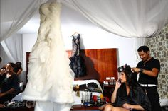 Gorgeous bride getting ready for her destination wedding at Le Reve boutique hotel with her two Vera Wang bridal gowns, one in black and one in white.  Mexico wedding photographers Del Sol Photography  @Vera Kulikova Wang