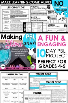 Making Slime PBL: In this fun 10 day project-based learning (PBL) activity for 4th and 5th grades, your students will use key standards in a real-life scenario! These standards include reading comprehension, collaboration, persuasive writing, decimal (or whole number) operations. Differentiation is included!