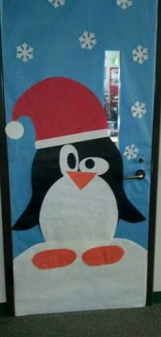 You can pull off this penguin door decoration for the month of January with just some construction paper. How cute?!? Or put the Santa hat on him and you can leave him up for the month of December too! {No directions, just a picture link!}