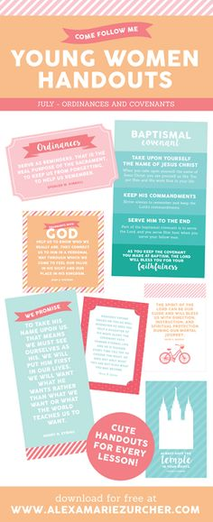 Free Young Women Lesson Handouts and Printables for July