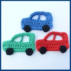3 Crochet applique cars, red green and blue appliques car 3 Crochet applique cars, red ,green and blue, appliques and embellishments. Crochet Car, Cute Crochet, Crochet Motif, Crochet For Kids, Beautiful Crochet, Hand Crochet, Crochet Toys, Crochet Appliques, Baby Knitting Patterns