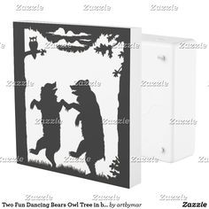 Two Fun Dancing Bears Owl Tree in black Silhouette Outlet Cover