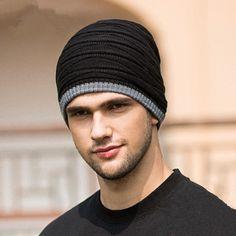 Black hip-hop style beanie hats for men