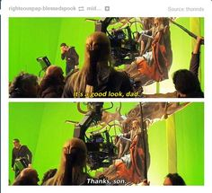Actual commentary between Orlando Bloom and Lee Pace while filming The Hobbit: The Desolation of Smaug. Those two are hilarious!
