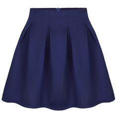 Pleated High-rise Zipped Navy Skirt