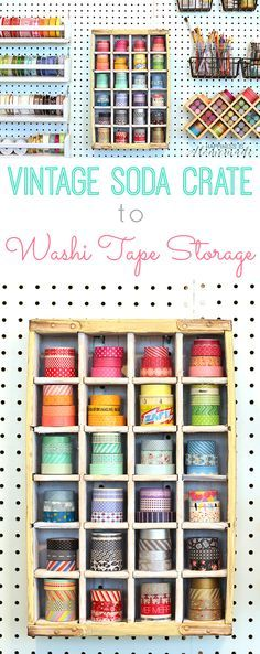 DIY Craft Room Storage Ideas and Craft Room Organization Projects - Vintage Soda Crate Storage - Coo Craft Room Storage, Craft Room Decor, Craft Organization, Diy Storage, Storage Ideas, Ribbon Storage, Storage Solutions, Washi Tape Storage, Washi Tape Crafts