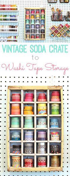 Repurposed Vintage Soda Crate to Washi Tape Storage Shelf