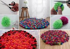 Love this as a collaborative classroom activity for beginning of year - get each child to make at least one pom pom and teacher sews them on to create a carpet for the quiet reading area