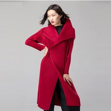 Bright red color elegant brand designer overcoat winter warm pleated long coat for women  Best Buy follow this link http://shopingayo.space