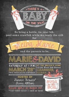 Crawfish Boil Baby Shower Party Invitation by YourStationeryStop They DO make crawfish baby shower invitations!!!!