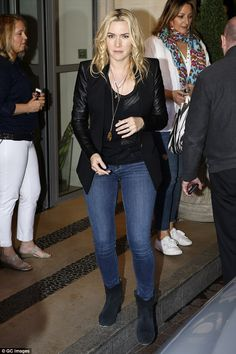 Casual: Kate Winslet cut a relaxed figure when she stepped out in central London on T uesd...