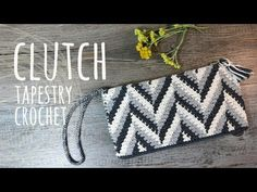 Clutch Tutorial or Tapestry Crochet Bag Crochet Bag Tutorials, Crochet Videos, Tapestry Bag, Tapestry Crochet, Crochet Clutch Pattern, Knitting Patterns, Crochet Storage, Clutch Tutorial, Crochet Stitches