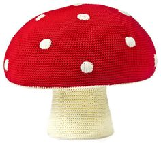 A crocheted toadstool footstool. Designer: Anne-Claire Petit
