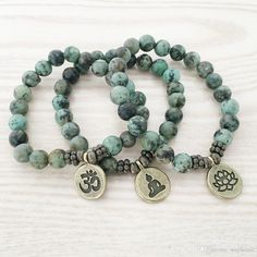2017 Sn1109 Natural African Turquoise Men`s Bracelet Ohm Lotus Buddha Charm Bracelet High Quality Jewelry Wholesale From Stephense, $22.97 | Dhgate.Com