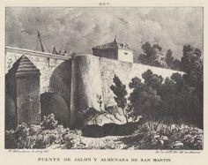 Grabado. Vista del puente del Jalón y de la almenara de San Martín (1833).  Grabato. Ambiesta d´o puen d´o  Xalón y de l´almenara de San Martín (1833)