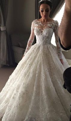 Babyonlinewholesale custom long sleeve wedding dresses,ball gown princess dress in high quality at factory price, saving your money and making you shinning at your party. Lace Wedding Dress With Sleeves, Applique Wedding Dress, Long Wedding Dresses, Long Sleeve Wedding, Bridal Dresses, Wedding Gowns, Lace Dress, Lace Sleeves, Wedding Dressses