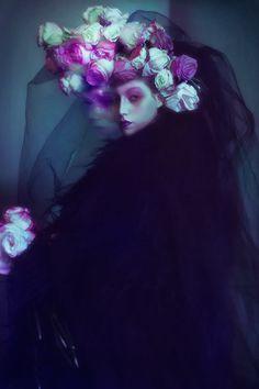 """The Woman in Black"" by Elizaveta Porodina #fashion #editorial #dark #black #veil #roses"