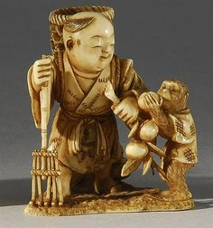 Lot 201: IVORY NETSUKE In the form of a child carrying a rake, wicker basket, and peach branch that is being nibbled on by two monkeys. Signe... - Eldred's | Invaluable
