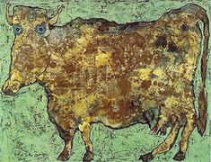"Jean Dubuffet | The Cow with the Subtle Nose, 1954.  ""Dubuffet's  rejection of art education is evident. The heavily textured surface depicts a cow, rendered in the child-like innocence of patients in psychological facilities. The uninhibited approach to the canvas exemplifies what Dubuffet termed Art Brut. The image is thus at odds with the notions of 'high art', and approaches art making from the direction of artistic purity uninfluenced by cultural advancement."""